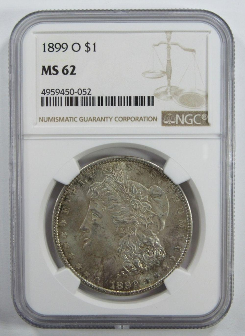 Lot 173: 1899-O Morgan Silver Dollar $ NGC MS 62