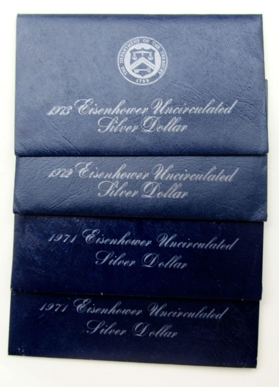 Lot 187: 2-1971, 1972, 1973 SILVER IKE DOLLARS UNC
