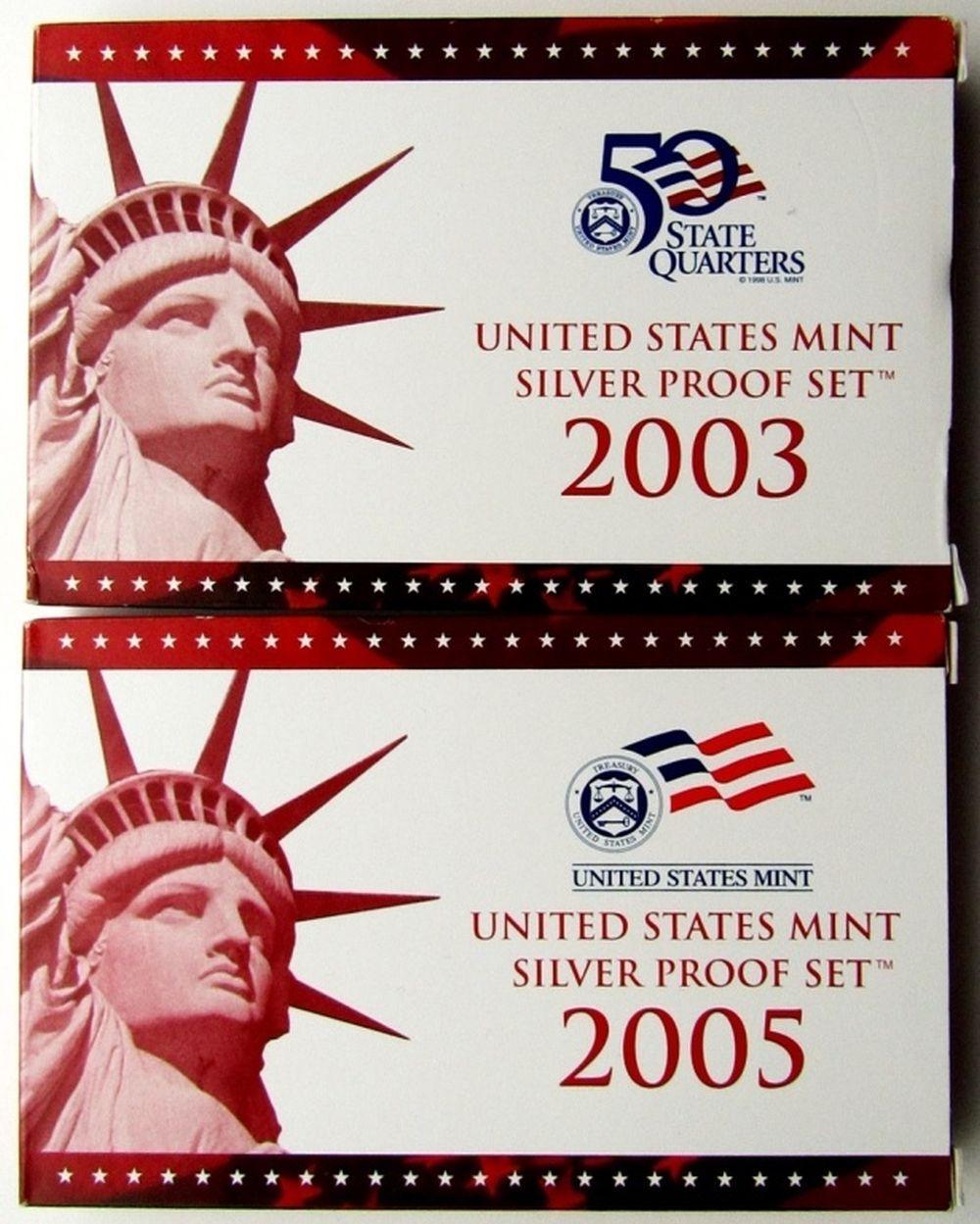 Lot 194: 2003 & 2005 U.S. MINT SILVER PROOF SETS