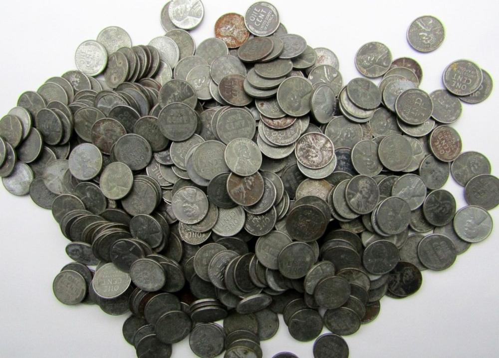 1943 LOT OF 500 STEEL WHEAT PENNIES MIXED LOT