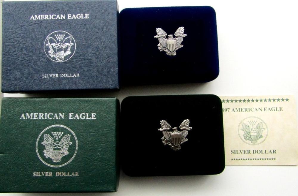 Lot 196: 1988 & 1997 AMERICAN SILVER EAGLES