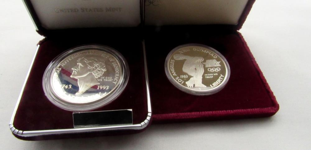 """Lot 211: 1984 OLYMPIC PROOF SILVER DOLLAR """"S"""" MINT ONLY;"""