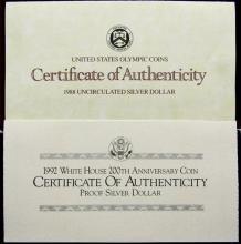 Lot 220: 1988 OLYMPIC UNC SILVER DOLLAR