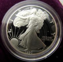 Lot 222: 1990 & 1997 PROOF AMERICAN SILVER EAGLE