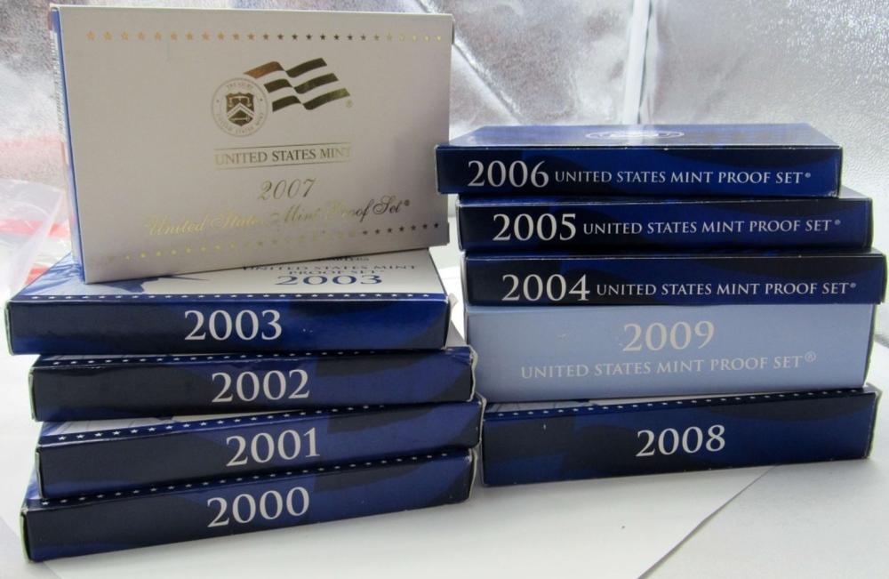 Lot 214: 2000 thru 2009 U.S. PROOF SETS