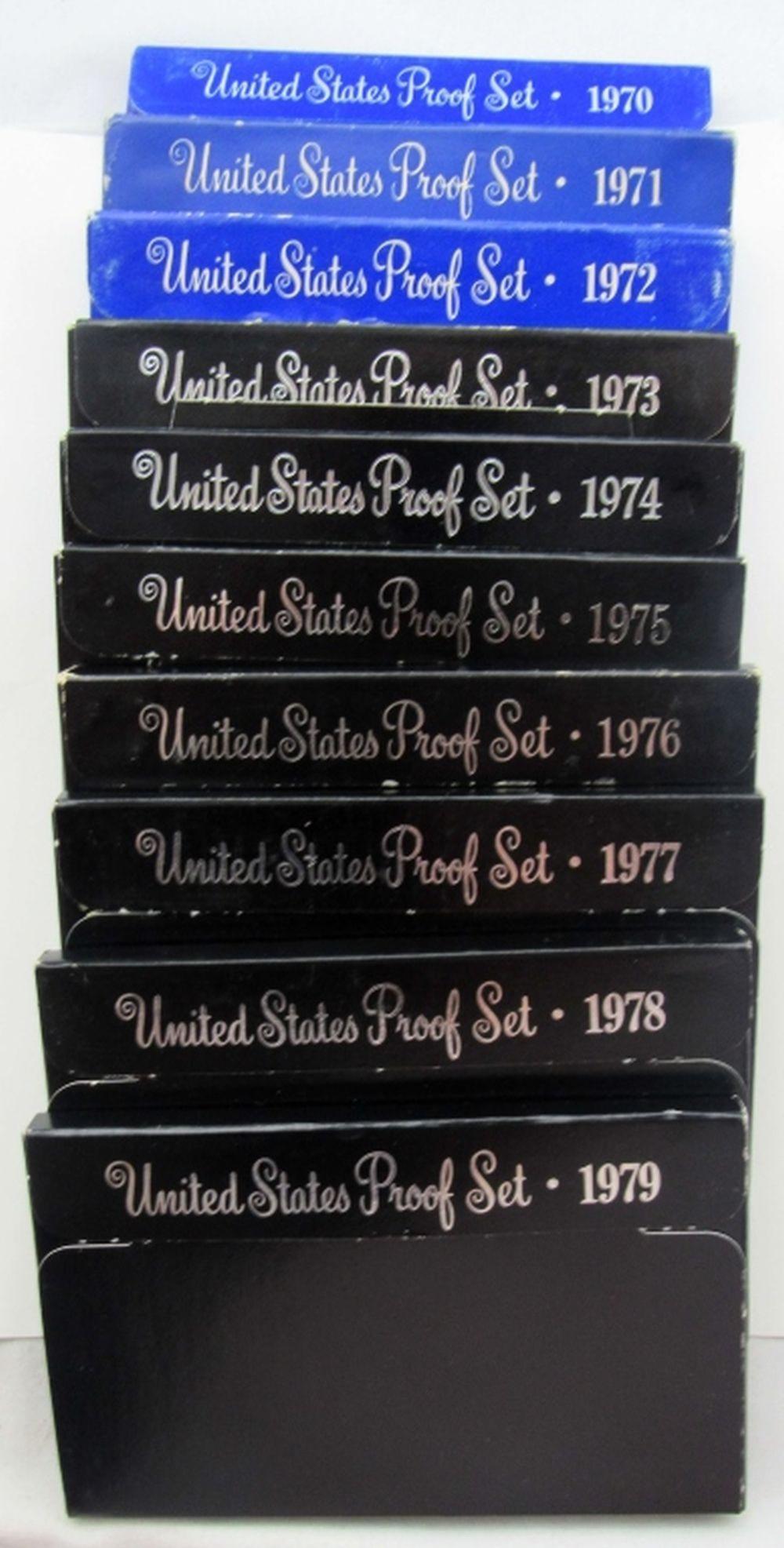 Lot 224: 1970 thru 1979 U.S. PROOF SETS