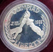 Lot 246: 1988 OLYMPIC PROOF SILVER DOLLAR