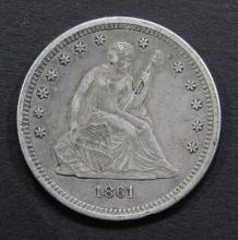 Lot 253: 1861 SEATED QUARTER - XF/AU