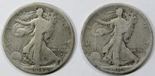 Lot 252: 1916 & 1916-D WALKING LIBERTY HALF DOLLAR GOOD