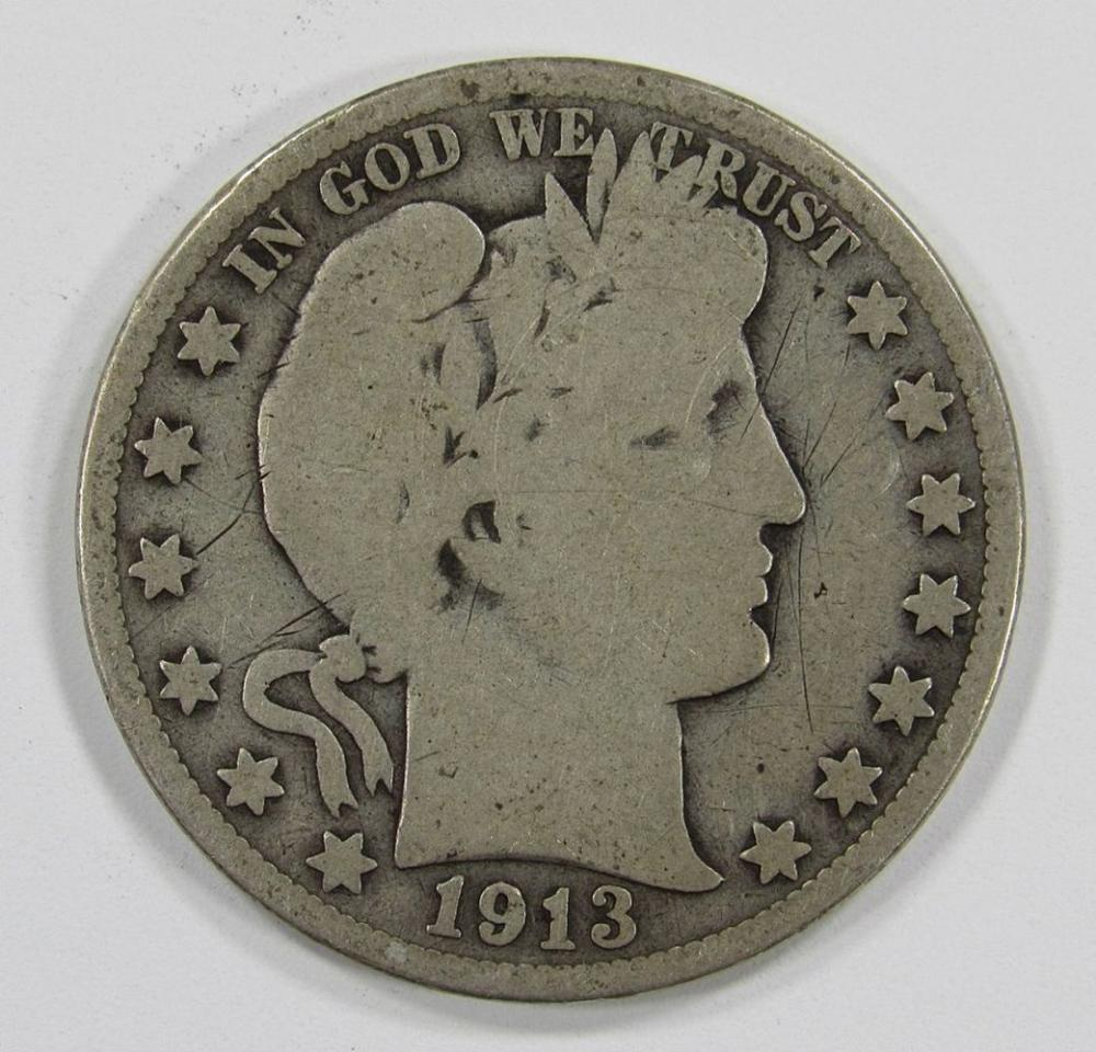 Lot 261: 1913 BARBER HALF DOLLAR- GOOD