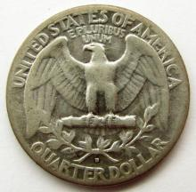 Lot 283: 1932-D WASHINGTON QUARTER VG/F