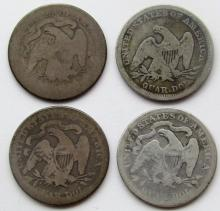 Lot 285: 4-SEATED QTRS: 1876, 1877, 1857, 1891