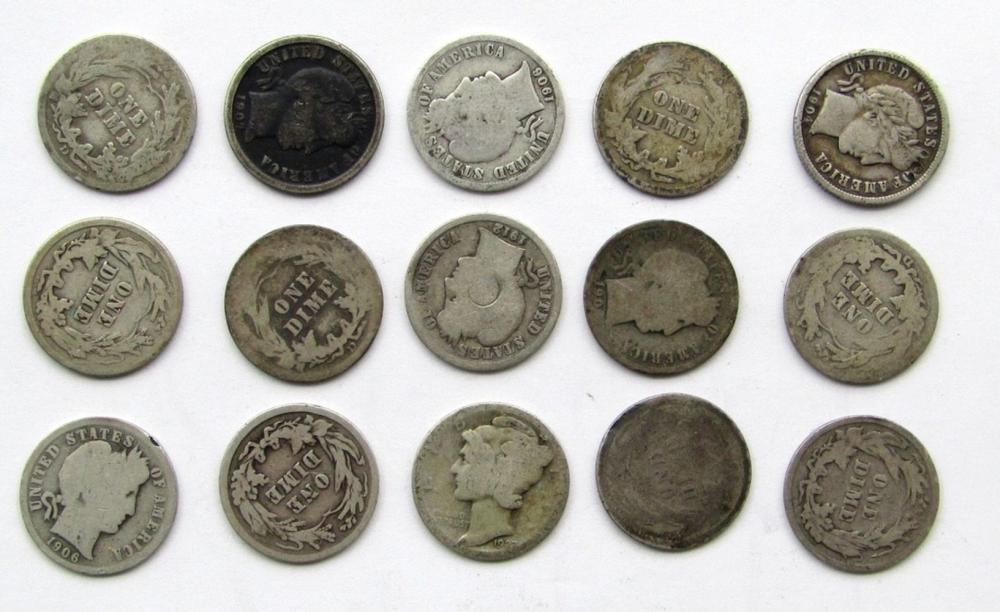 Lot 293: BARBER DIME LOT of 15 COINS