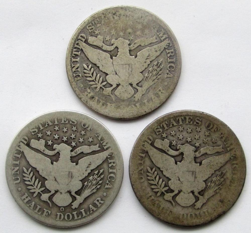Lot 297: 3-BARBER HALF DOLLARS: 1899, 1900, 1906-O