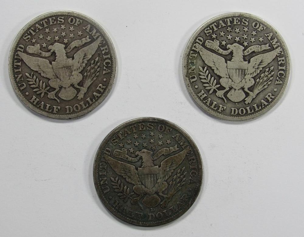 Lot 298: 3- BARBER HALF DOLLARS: 1897, 1906-D, 1913-S