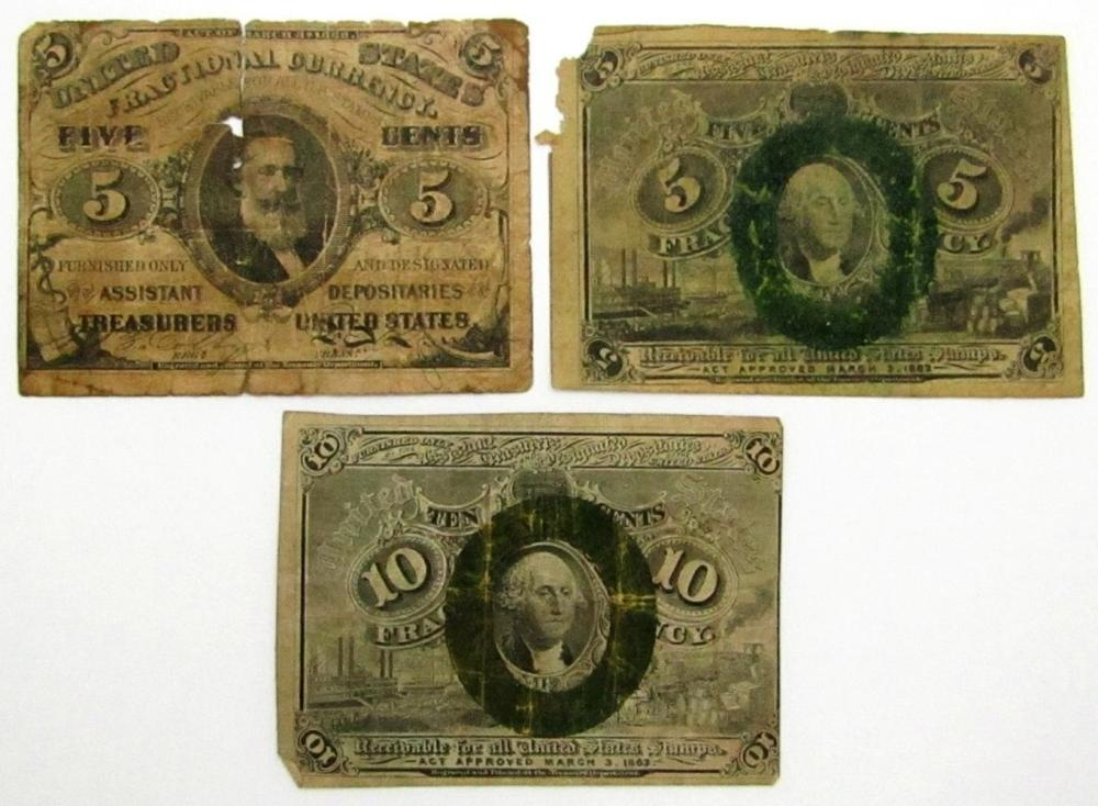Lot 345: 3-1863 FRACTIONAL CURRENCY NOTES