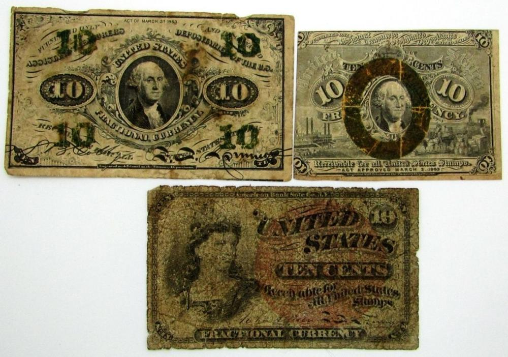 Lot 344: 3-1863 10c FRACTIONAL NOTES