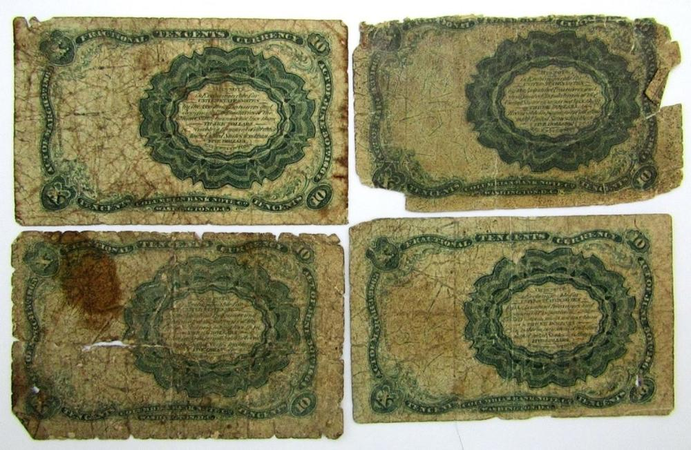 Lot 343: 4-1874 10c FRACTIONAL NOTES