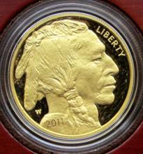 Lot 350: 2011 AMERICAN BUFFALO 1 OZ. GOLD $50 PROOF .9999