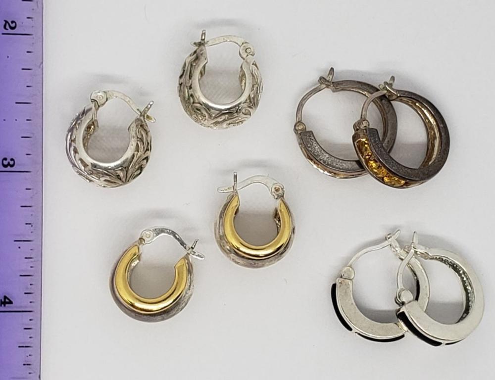 4-PAIRS OF STERLING PIERCED HOOPED EARRINGS