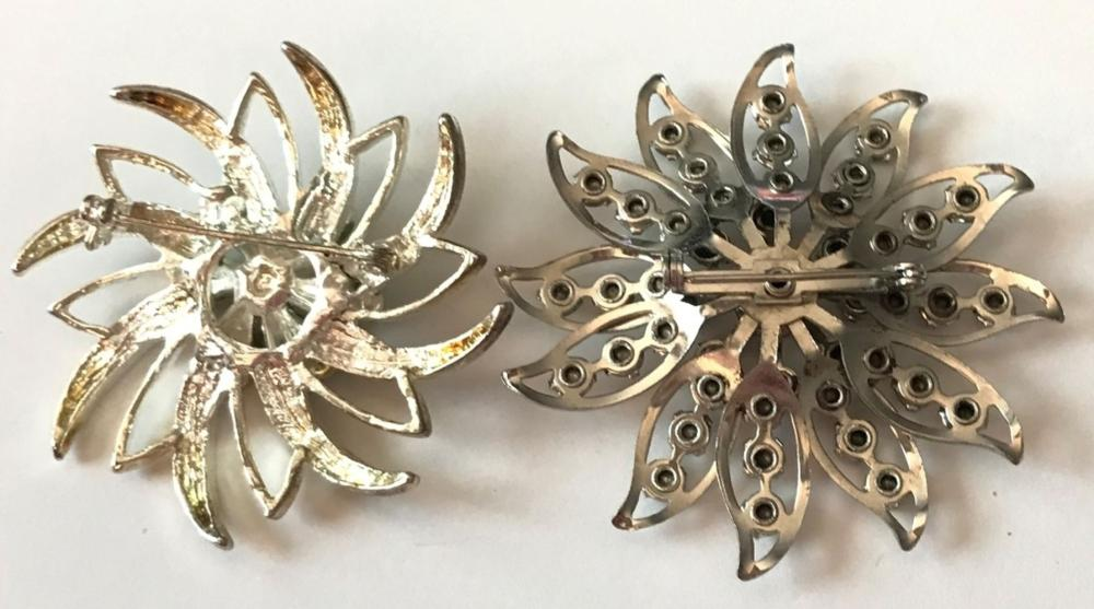 2 FAUX DIAMOND FLOWER BROOCHES