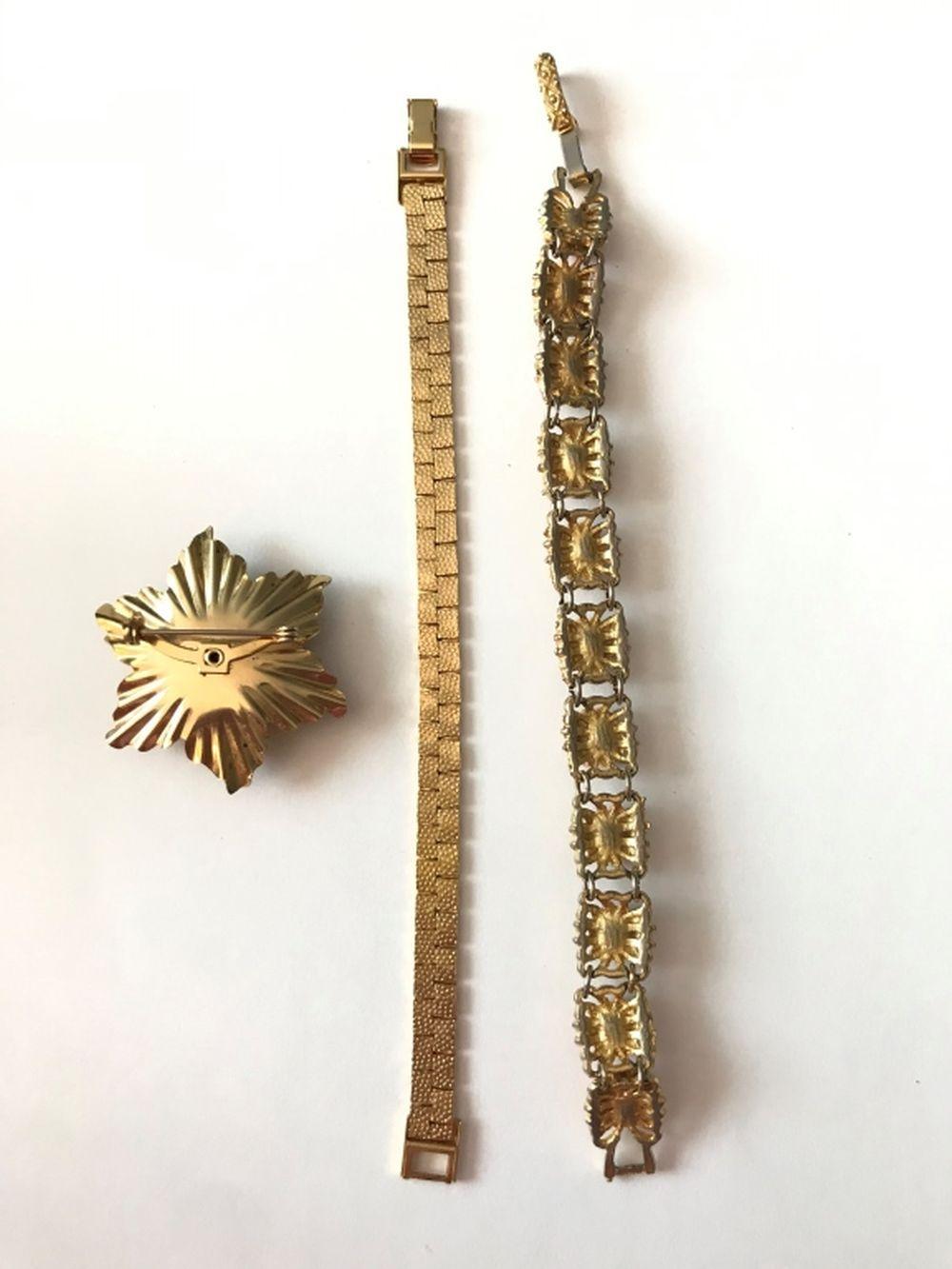 3 PIECE LOT GOLD TONE W/ PINK STONES/GEMS