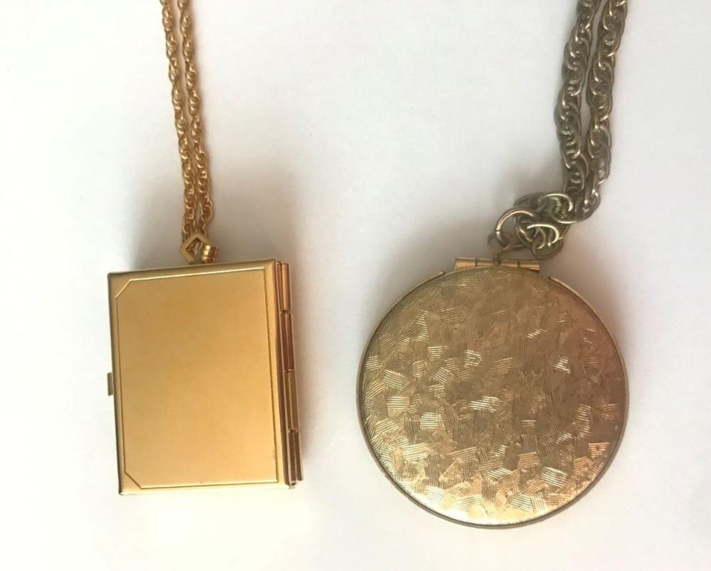 2 GOLD TONE LOCKET NECKLACES