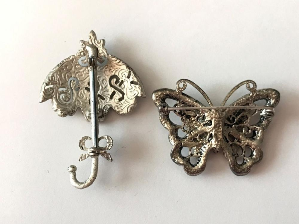 2 BROOCHES- UMBRELLA & BUTTERFLY