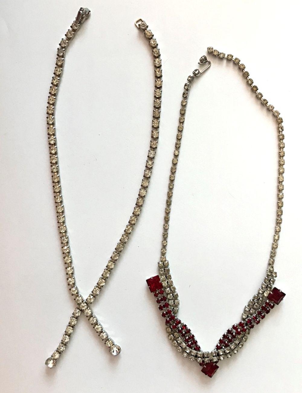 2 RHINESTONE NECKLACES (1 INCLUDES RED STONES)