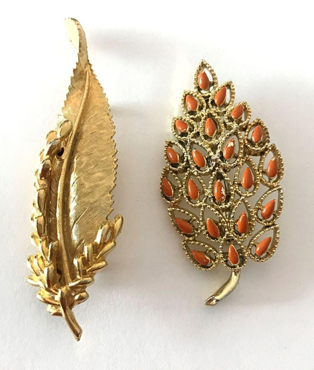 2 GOLD TONE LEAF BROOCHES (GERRY'S & BSK)