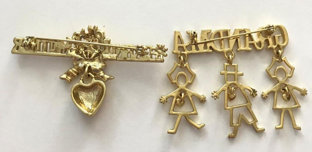 2 GOLD TONE GRANDMOTHER BROOCHES