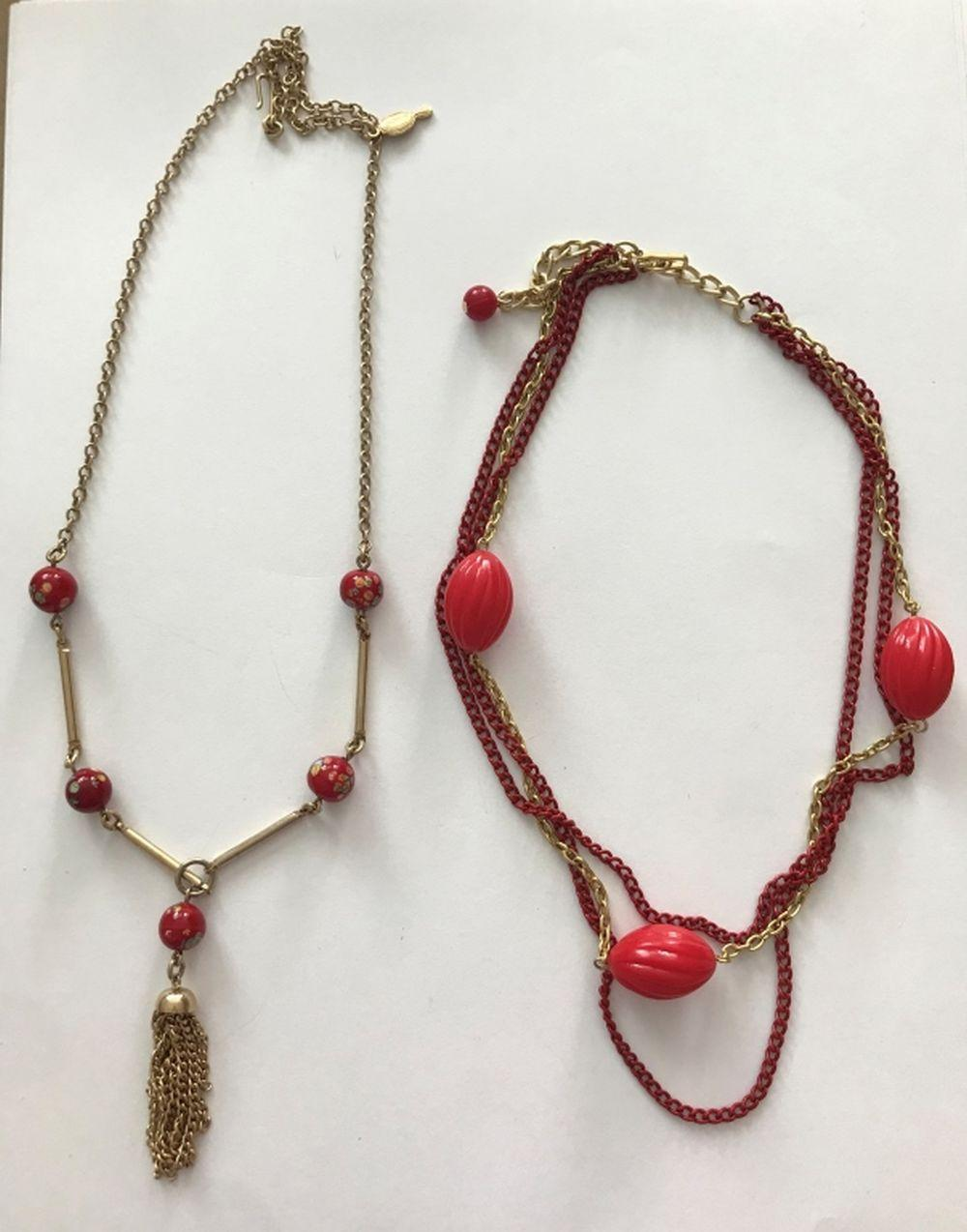 2 GOLD TONE & RED NECKLACES