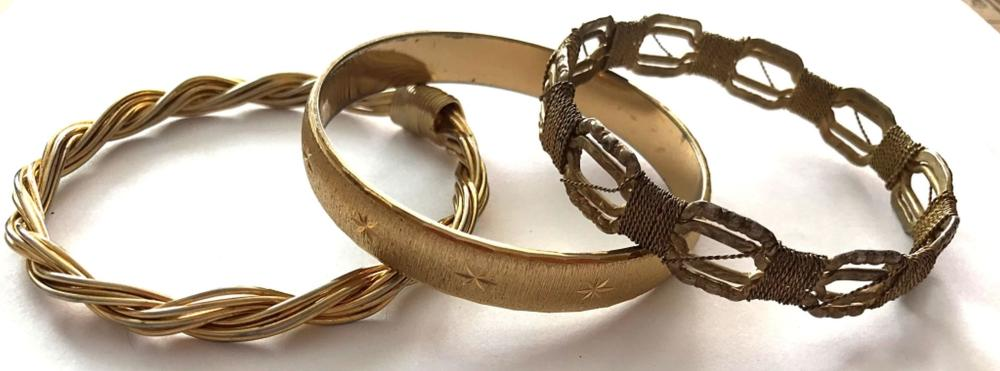 3 GOLD TONE BRACELETS (1- MONET)