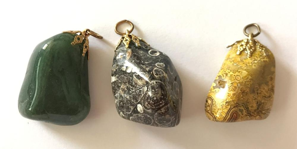 3 POLISHED ROCKS FOR KEYCHAIN OR NECKLACE