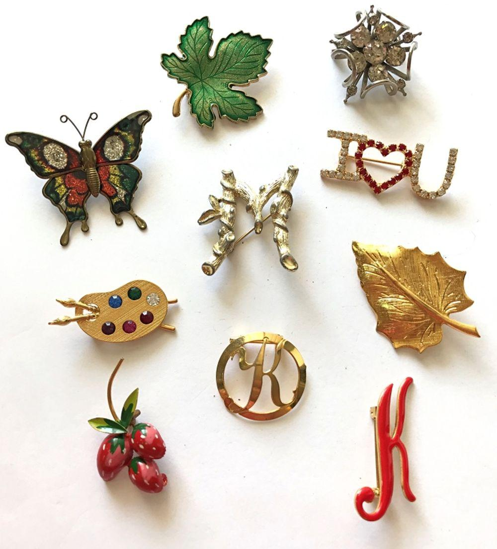 """10 BROOCHES -- BUTTERFLY, """"K"""", """"M"""""""