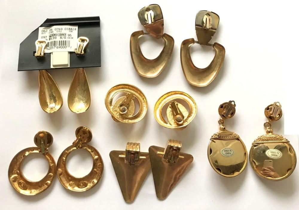 27 PAIRS OF GOLD TONE EARRINGS