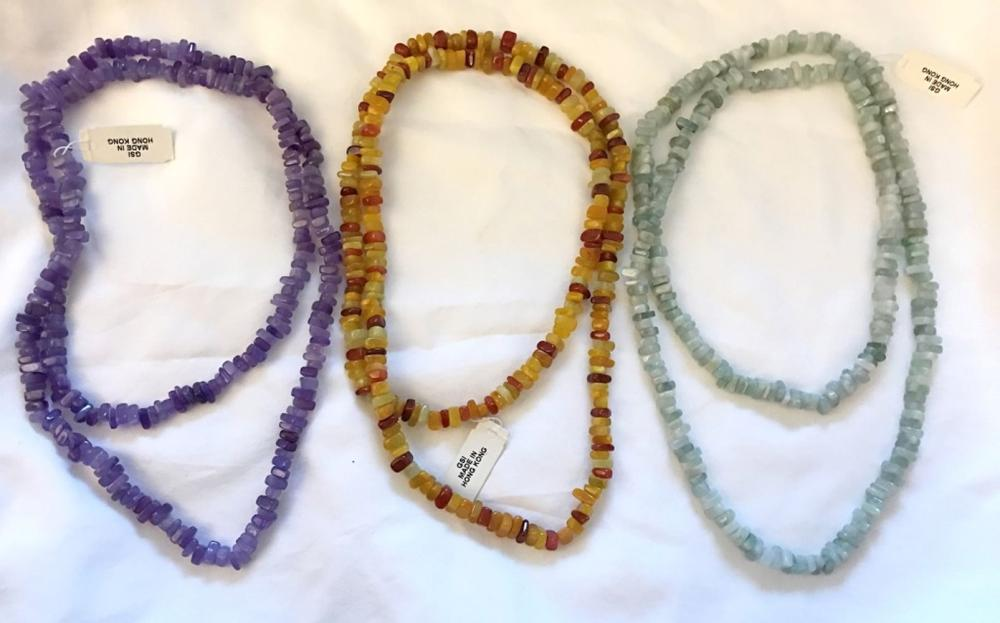 3 GLASS BEAD NECKLACES