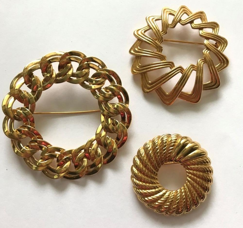 3 GOLD TONE BROOCHES- 2 MONET,1 TRIFARI