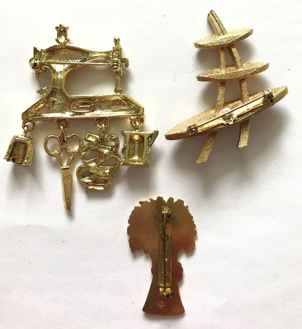 3 LARGE BROOCHES- SEWING MACHINE, TREE +