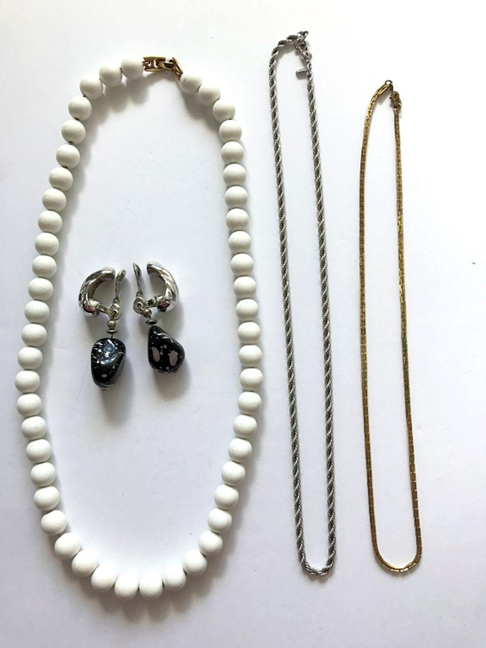 3 MONET NECKLACES + 1 PAIR OF EARRINGS