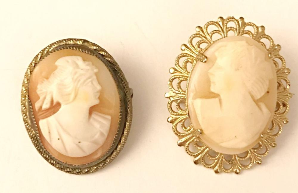 2 PC CAMEO BROOCHES