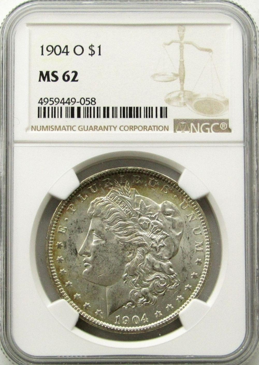 NGC MS62 1904 O Morgan Silver Dollar