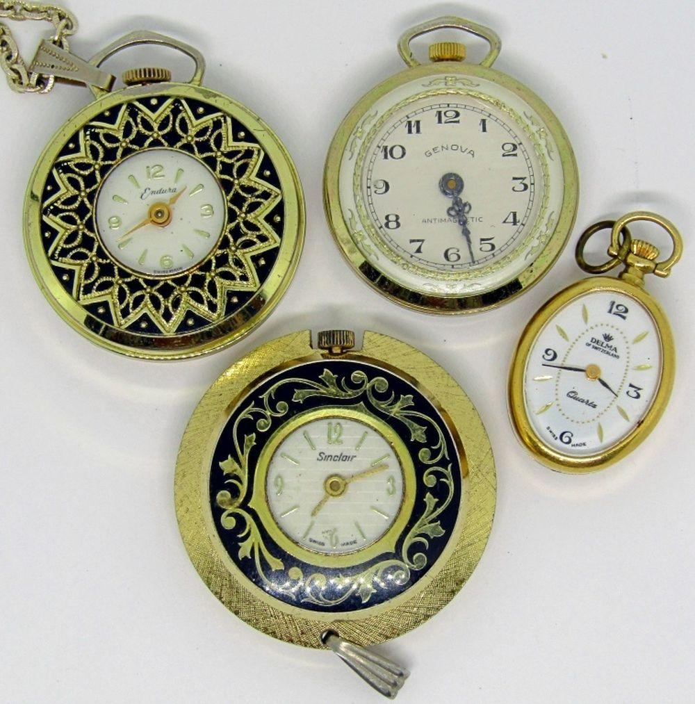 4 PENDANT POCKEWATCHES; SWISS MADE!