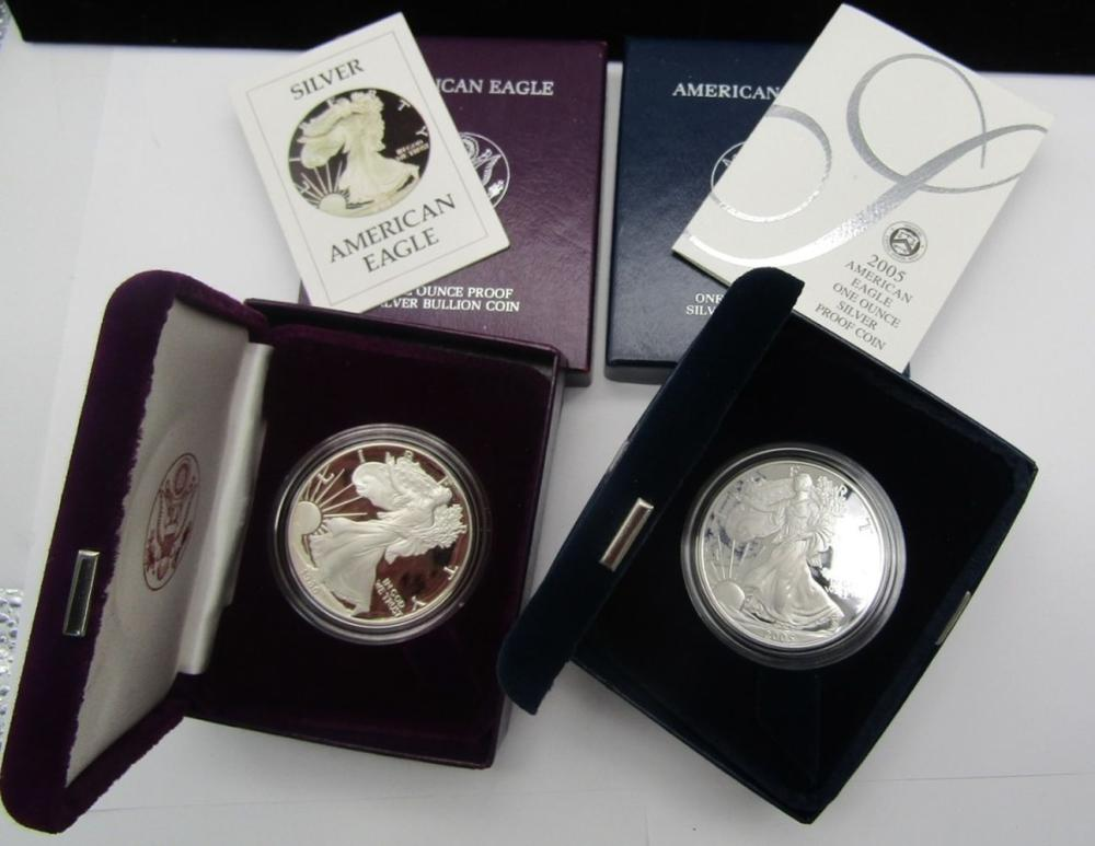 1986 & 2005 PROOF AM SILVER EAGLES