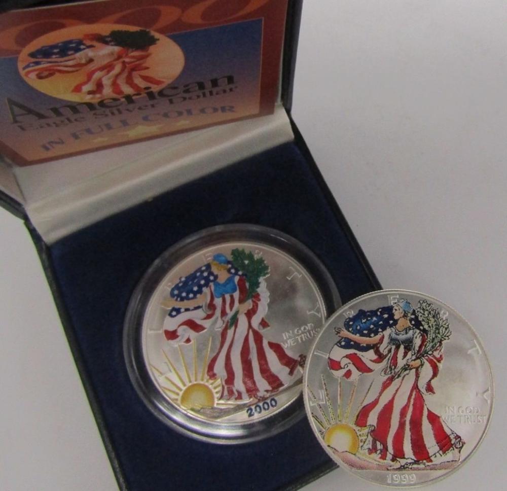 1999 & 2000 COLORED AM SILVER EAGLES