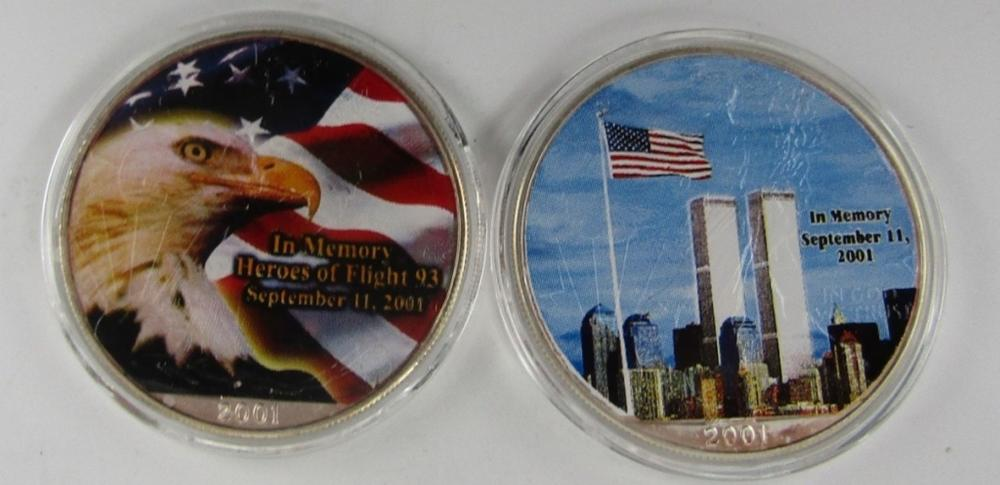 2-SEPT 11 COLORED AM SILVER EAGLES