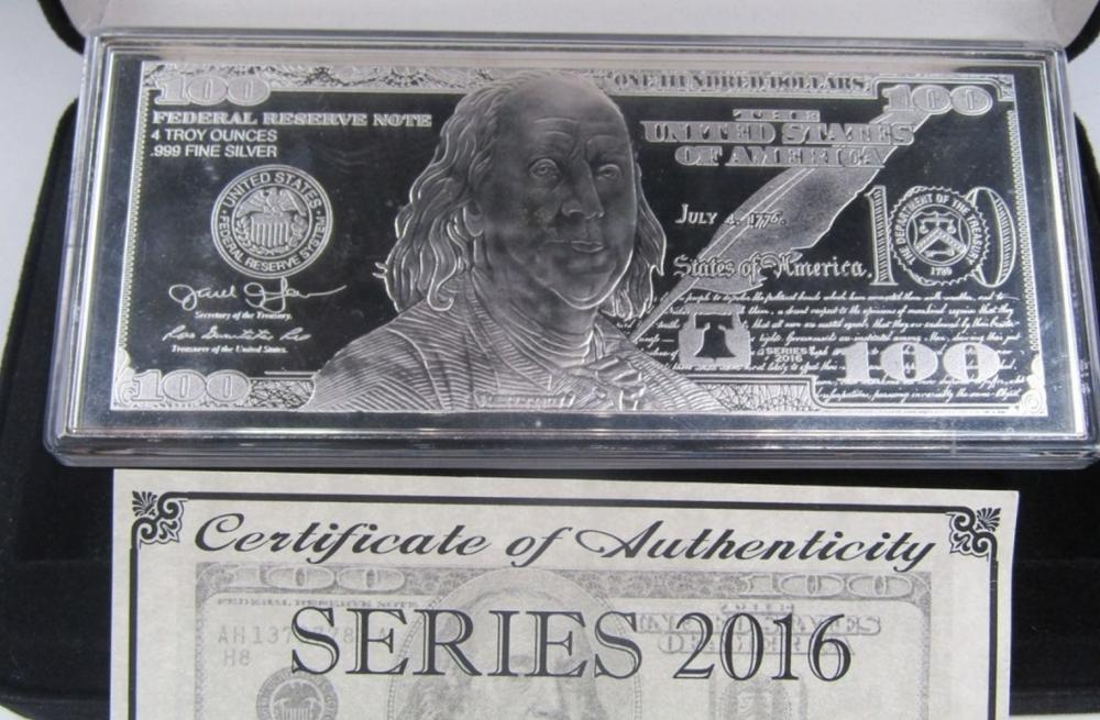 4 ozt SILVER $100 PROOF NOTE