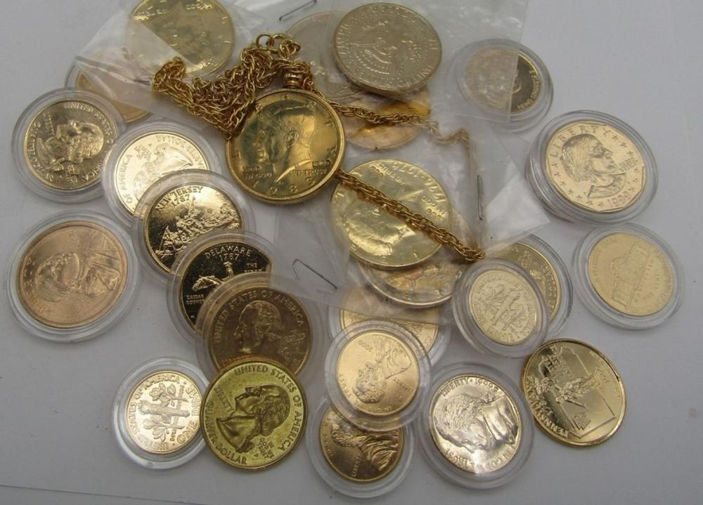 GOLD PLATED COINAGE ( $7.60 FACE VALUE)