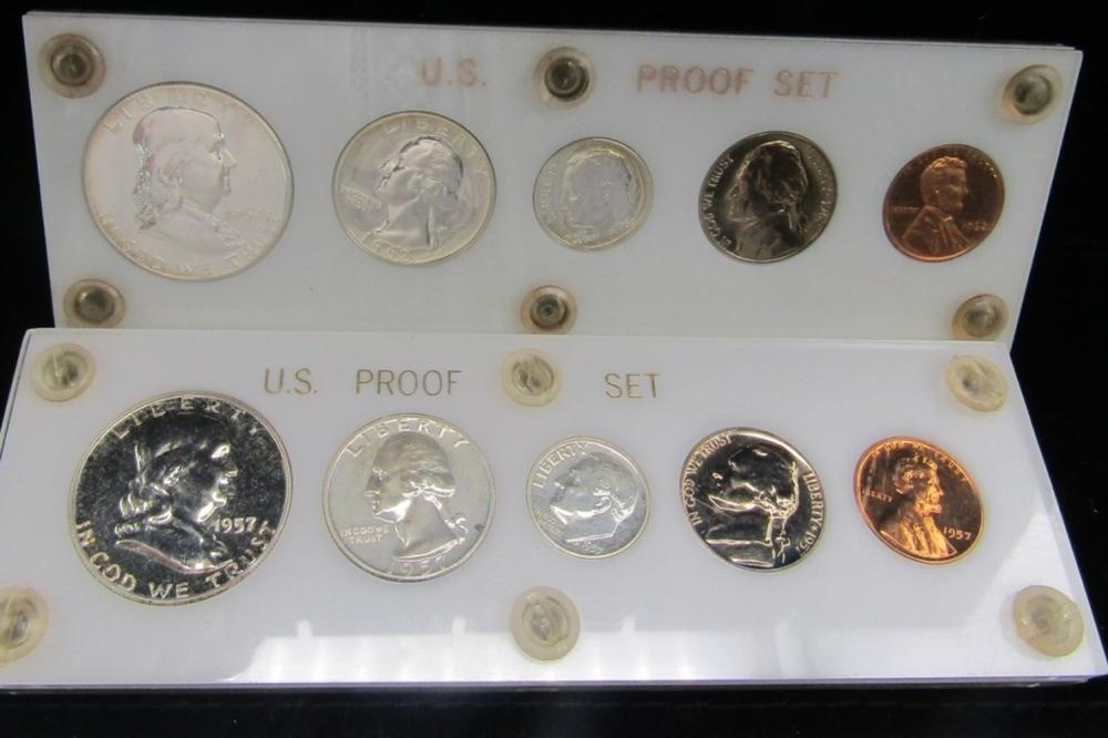 1957 & 1962 PROOF SETS in CAPITOL HOLDERS