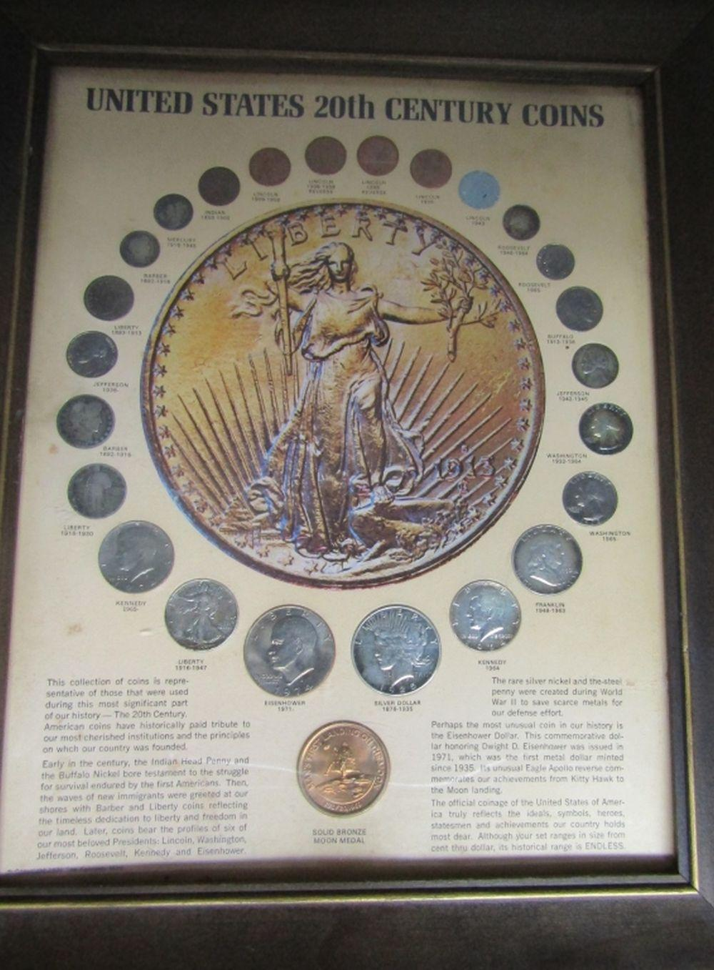 U.S. 20th CENTURY COINS in FRAME